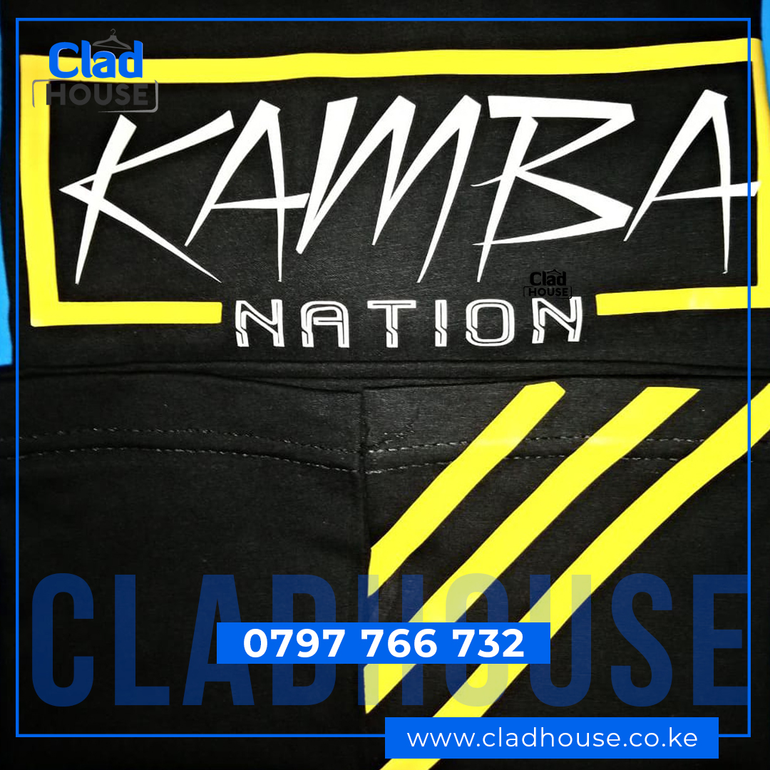 Kamba Nation Black with Yellow Print Tshirt