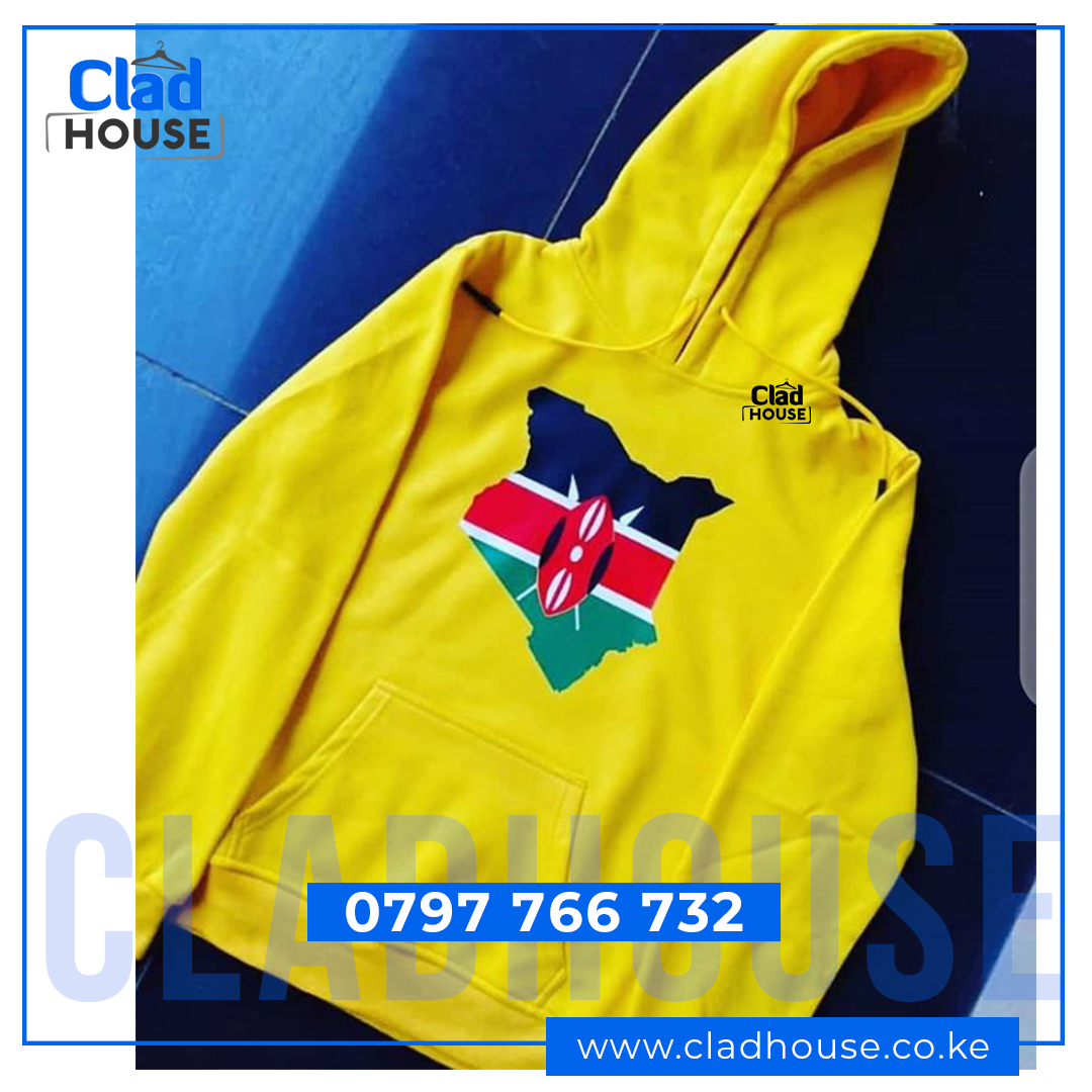 Kenyan Map and Flag Yellow Hoodie